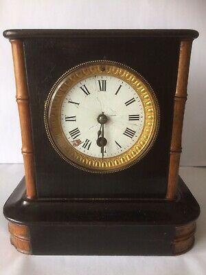 Antique French Ebonised Timepiece Matle Sideboard Clock Working Order
