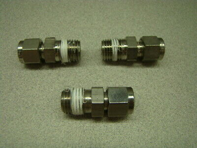 """Swagelok SS-400-1-4BT Straight Connector, 1/4"""" Tube OD x 1/4"""" NPT Male, QTY of 3"""