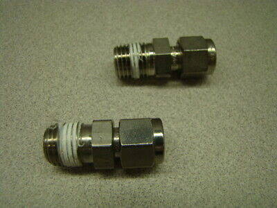 """Swagelok SS-400-1-4BT Straight Connector, 1/4"""" Tube OD x 1/4"""" NPT Male, QTY of 2"""