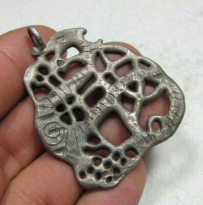 Rare Ancient Silver Viking Dragon Mythology Amulet Pendant C 9th / 11th.cent AD.