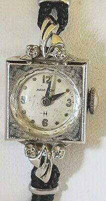 Vintage 14K Ladies Hamilton White Gold Diamonds, 17 Jewel WristWatch