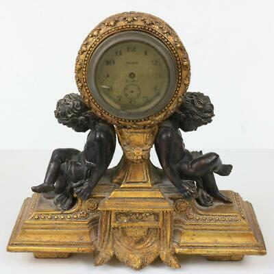 ANTIQUE FRENCH STYLE MANTEL CLOCK with BRONZED CHERUBS & GILT CASE restoration