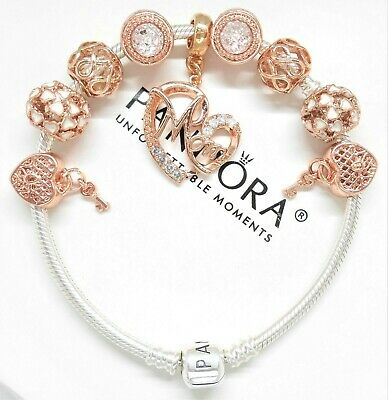 Authentic Pandora Silver Charm Bracelet With Mom Rose Gold Charms Heart & Key