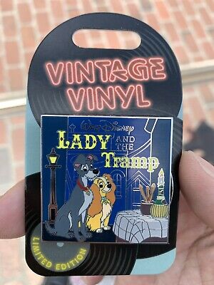 Disney Parks Pin Of The Month  Vintage Vinyl lady and the tramp LE3000 In Hand