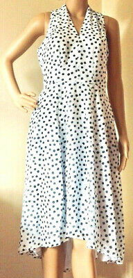 Closet London Gold Size 12 White/Black Spotted High V Neck Chiffon Lined Dress