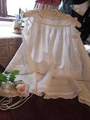 Vintage Victorian Childs Pinafore Dress  Pintucks Deep Lace Collar