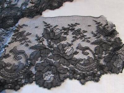 Vintage Victorian Era Chantilly Lace Embroidery On Tulle Net Project Craft