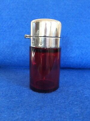 Antique Silver Topped Ruby Glass Perfume Bottle