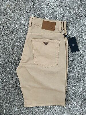 "AJ Armani Men's Chino Shorts J45 BNWT New Beige 36"" Waist Regular Leg"