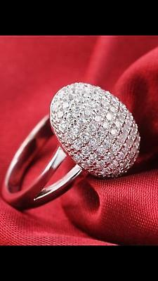 18K White Gold Plated Band Cubic Zirconia Wedding Engagement Ring For Women Gift