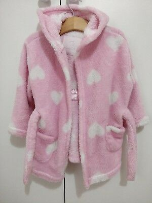 18-24m Dressing Gown Nightwear Pink Fluffy Soft Housecoat Girls early days robe