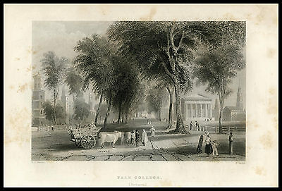 Yale College New Haven W.H. Bartlett 1855 U.S. History steel engraved print