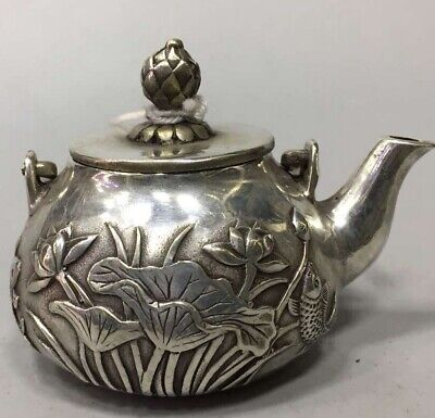 Miao Silver Carve Goldfish Lotus Ancient Special Tibet Collectable Royal Teapot