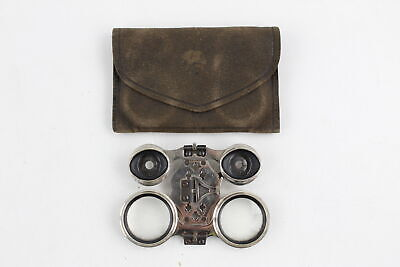 Antique French Archimede Depose Folding Opera Glasses w/ Leather Pouch