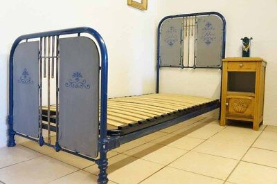 Antique French Grey Blue 3 ft Single Iron Bed 1930s Industrial Shabby Chic PARIS