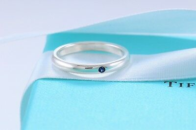 219569578 Tiffany & Co Sterling Silver Elsa Peretti Blue Sapphire Stack Ring Sz 4.5  +Pouch