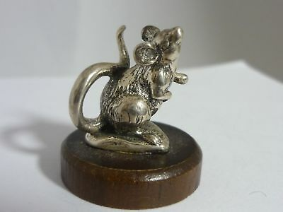 Stunning Rare Sterling Silver Miniature Kirk Stieff Mouse Statue on Walnut Base