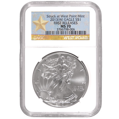 2013(W) $1 American Silver Eagle NGC MS70 ER West Point Star Label
