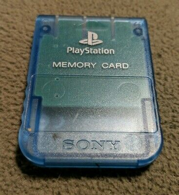Genuine Sony Brand Playstation Ps1 Memory Card Scph-1020 Official Clear Blue