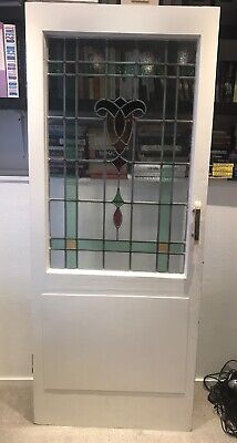 Door With Leaded Stained Glass