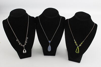 3 x Vintage .925 Sterling Silver ART DECO Era NECKLACES inc. Calcedony (18g)