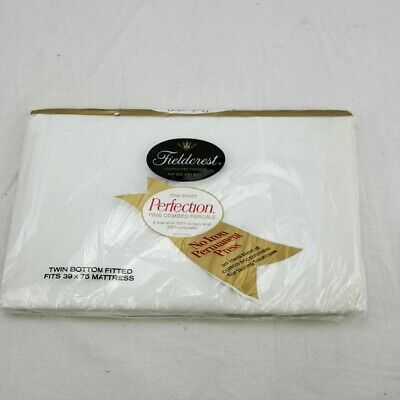 Vintage Fieldcrest Perfection Percale Fitted Twin Sheet White NOS