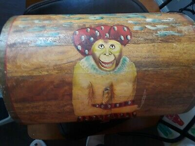 Antique Hand Painted Wood Domed Lid Monkey Motif Jewelry Trinket Casket Box