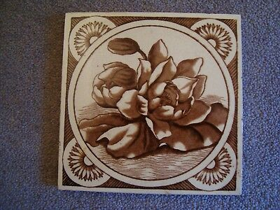 Unusual aesthetic style sepia/brown coloured floral tile 19/69