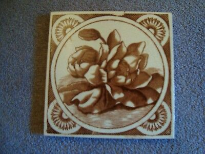 charming aesthetic style sepia/brown coloured floral tile 19/69