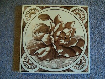 attractive aesthetic style sepia/brown coloured floral tile 19/69