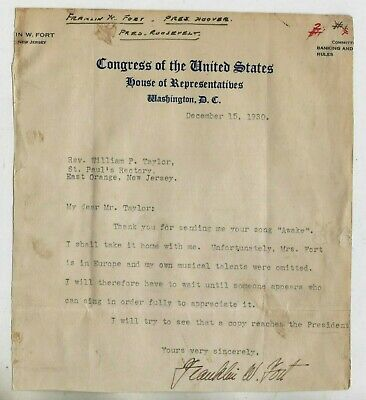 1930 TLS FRANKLIN W. FORT U.S. Congressman, Republican National Committee Chair