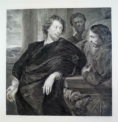 Large Antique 1875 Engraving, PORTRAIT OF PETER PAUL RUBENS by ANTHONY VAN DYCK