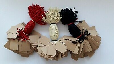 100 Buff Strung Price Labels 25Mm X 15Mm Small Tags Swing Tickets