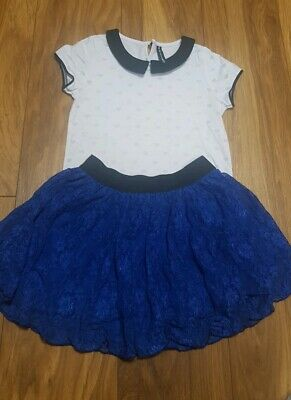 GIRLS AGE 5-6/6-7 YEARS OUTFIT short Sleeve top and skirt