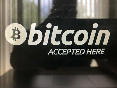 """BITCOIN ACCEPTED HERE  in Gloss White 8.5""""  Decal Vinyl JDM Illest Dope Crypto"""