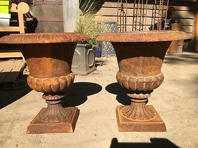 """Impressive pair, cast iron, classical influence Victorian style urns, 12.5"""" tall"""