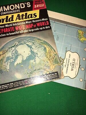 1951 Map Hammond's World Atlas Plus Separate Wall Map Of The World 40 X 26 Inche