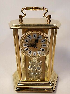 Vintage ELGIN MANTLE CLOCK Battery Operated Pendulum Brass only Clock Works