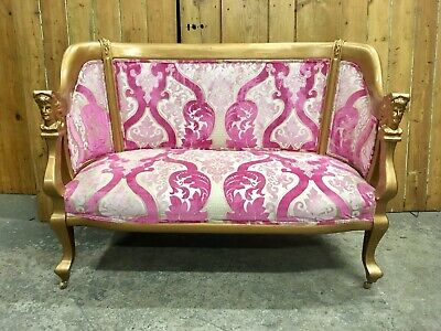 Vintage French Gold Damask Louis XV  2 Seater Sofa Embossed Pink Crushed Velvet
