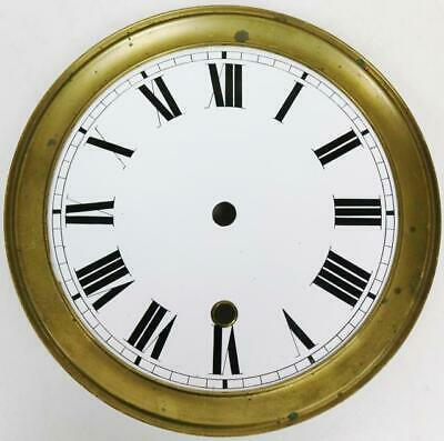 "Original Antique 9.5"" Diam Enamel porcelain Regulator Longcase / Wall Clock Dial"