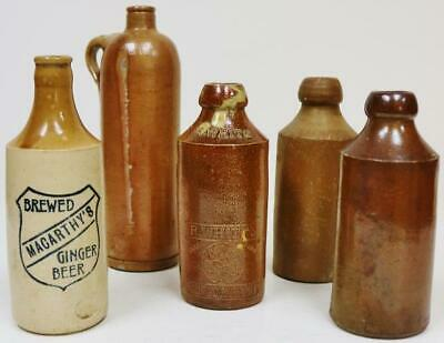 Collection Of 5 Original Antique Victorian Stoneware Ginger Beer Bottles