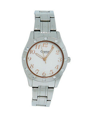 Caravelle by Bulova 43L154 Women's Clear Stone Round Analog Radial Watch