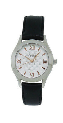 Caravelle by Bulova 43L142 Women's Round Clear Stone Analog Black Leather Watch
