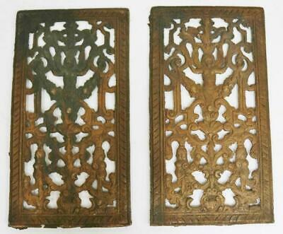 Pair Of Antique English 17thC - 18thC Brass Verge Bracket Clock Fretwork Panels