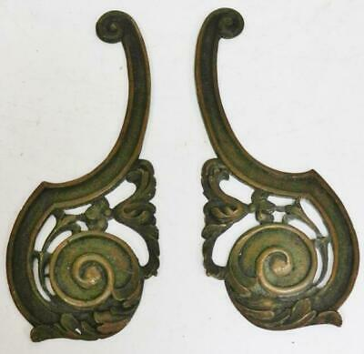 Original Pair Antique 17thC-Early 18thC Brass Bracket Clock Scroll Case Mounts
