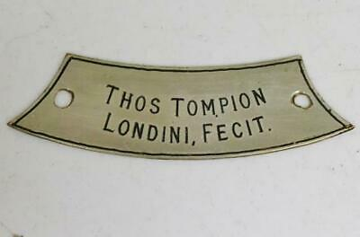 Rare Antique 17thC Thomas Tompion Londini Silvered Bracket Clock Dial Plaque