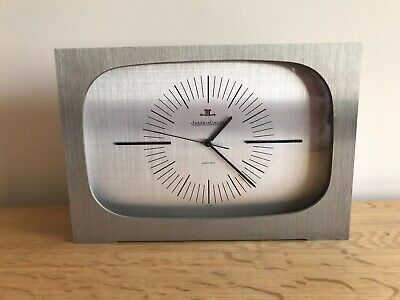 Vintage 1970s Jaeger Le-Coultre 5052 Brushed Stainless Steel Electric Clock