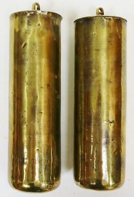 Pair Of Antique 18thC Brass Cased London Longcase Clock Weights, Weighing 12lb