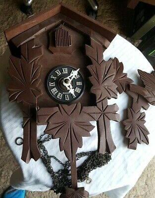 Old Vintage Or Antique German Wooden Bird Cuckoo / Wall Clock Restore / Parts