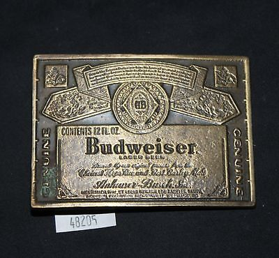 LMAS ~ Budweiser Genuine Label Brass Belt Buckle